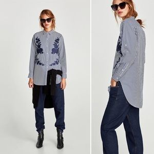 ZARA Embroidered Front Button Down Shirt